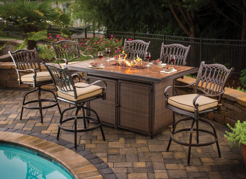 Fire Pits Fire Tables Fireplaces Long Island The Fireplace - Outdoor furniture with gas fire pit table